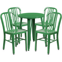 Flash Furniture CH-51080TH-4-18VRT-GN-GG 24 inch Round Green Metal Indoor / Outdoor Table with 4 Vertical Slat Back Chairs