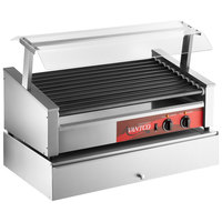 Avantco 50 Slanted Hot Dog Roller Grill with Pass-Through Canopy and 144 Bun Cabinet