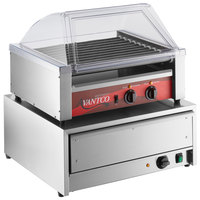 Avantco 30 Hot Dog Non-Stick Roller Grill with Sneeze Guard and 32 Bun Warmer