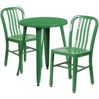 Flash Furniture CH-51080TH-2-18VRT-GN-GG 24 inch Round Green Metal Indoor / Outdoor Table with 2 Vertical Slat Back Chairs