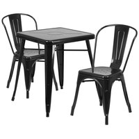 Flash Furniture CH-31330-2-30-BK-GG 23 3/4 inch Square Black Metal Indoor / Outdoor Table with 2 Stack Chairs