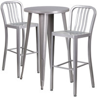 Flash Furniture CH-51080BH-2-30VRT-SIL-GG 24 inch Round Silver Metal Indoor / Outdoor Bar Height Table with 2 Vertical Slat Back Stools