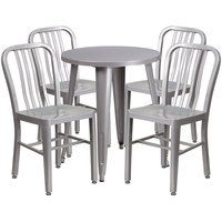 Flash Furniture CH-51080TH-4-18VRT-SIL-GG 24 inch Round Silver Metal Indoor / Outdoor Table with 4 Vertical Slat Back Chairs