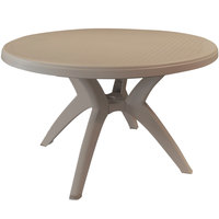 Grosfillex US526181 Ibiza 46 inch French Taupe Round Resin Pedestal Table with Umbrella Hole