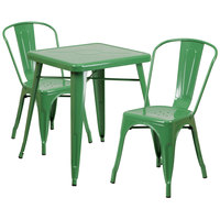 Flash Furniture CH-31330-2-30-GN-GG 23 3/4 inch Square Green Metal Indoor / Outdoor Table with 2 Stack Chairs