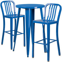 Flash Furniture CH-51080BH-2-30VRT-BL-GG 24 inch Round Blue Metal Indoor / Outdoor Bar Height Table with 2 Vertical Slat Back Stools