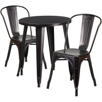 Flash Furniture CH-51080TH-2-18CAFE-BQ-GG 24 inch Round Black-Antique Gold Metal Indoor / Outdoor Table with 2 Cafe Chairs