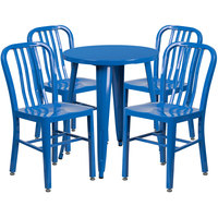 Flash Furniture CH-51080TH-4-18VRT-BL-GG 24 inch Round Blue Metal Indoor / Outdoor Table with 4 Vertical Slat Back Chairs