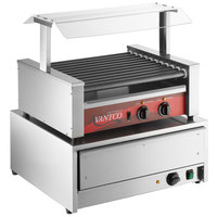 Avantco 30 Hot Dog Non-Stick Roller Grill with Pass-Through Canopy and 32 Bun Warmer