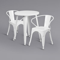 Flash Furniture CH-51080TH-2-18ARM-WH-GG 24 inch Round White Metal Indoor / Outdoor Table with 2 Arm Chairs