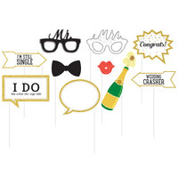 Creative Converting 324561 Wedding Photo Booth Props - 60 Pieces