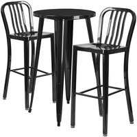 Flash Furniture CH-51080BH-2-30VRT-BK-GG 24 inch Round Black Metal Indoor / Outdoor Bar Height Table with 2 Vertical Slat Back Stools