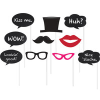 Creative Converting 291622 Chalkboard Photo Booth Props - 60 Pieces