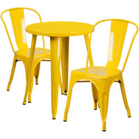 Flash Furniture CH-51080TH-2-18CAFE-YL-GG 24 inch Round Yellow Metal Indoor / Outdoor Table with 2 Cafe Chairs