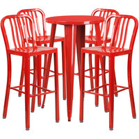 Flash Furniture CH-51080BH-4-30VRT-RED-GG 24 inch Round Red Metal Indoor / Outdoor Bar Height Table with 4 Vertical Slat Back Stools