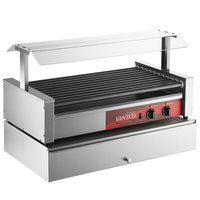 Avantco 50 Hot Dog Non-Stick Roller Grill with Pass-Through Canopy and 144 Bun Cabinet