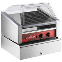 Avantco 30 Slanted Hot Dog Non-Stick Roller Grill with Sneeze Guard and 100 Bun Cabinet