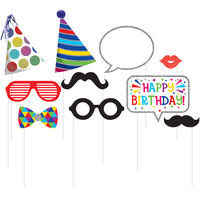 Creative Converting 324563 Birthday Photo Booth Props - 60 Pieces