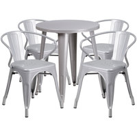 Flash Furniture CH-51080TH-4-18ARM-SIL-GG 24 inch Round Silver Metal Indoor / Outdoor Table with 4 Arm Chairs