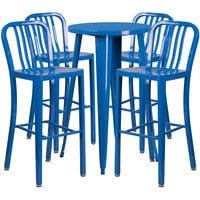 Flash Furniture CH-51080BH-4-30VRT-BL-GG 24 inch Round Blue Metal Indoor / Outdoor Bar Height Table with 4 Vertical Slat Back Stools