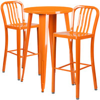 Flash Furniture CH-51080BH-2-30VRT-OR-GG 24 inch Round Orange Metal Indoor / Outdoor Bar Height Table with 2 Vertical Slat Back Stools
