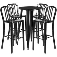 Flash Furniture CH-51080BH-4-30VRT-BK-GG 24 inch Round Black Metal Indoor / Outdoor Bar Height Table with 4 Vertical Slat Back Stools