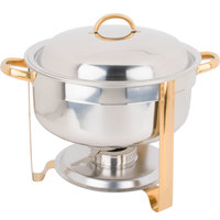 Choice 8 Qt. Deluxe Round Gold Accent Soup Chafer