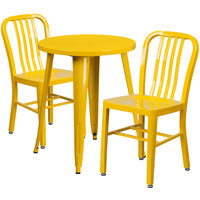 Flash Furniture CH-51080TH-2-18VRT-YL-GG 24 inch Round Yellow Metal Indoor / Outdoor Table with 2 Vertical Slat Back Chairs