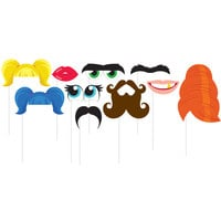Creative Converting 324553 Funny Faces Photo Booth Props - 60 Pieces