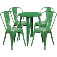 Flash Furniture CH-51080TH-4-18CAFE-GN-GG 24 inch Round Green Metal Indoor / Outdoor Table with 4 Cafe Chairs
