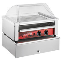 Avantco 24 Hot Dog Roller Grill with Sneeze Guard and 64 Bun Cabinet