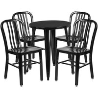 Flash Furniture CH-51080TH-4-18VRT-BK-GG 24 inch Round Black Metal Indoor / Outdoor Table with 4 Vertical Slat Back Chairs