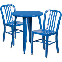 Flash Furniture CH-51080TH-2-18VRT-BL-GG 24 inch Round Blue Metal Indoor / Outdoor Table with 2 Vertical Slat Back Chairs