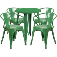 Flash Furniture CH-51080TH-4-18ARM-GN-GG 24 inch Round Green Metal Indoor / Outdoor Table with 4 Arm Chairs