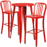 Flash Furniture CH-51080BH-2-30VRT-RED-GG 24 inch Round Red Metal Indoor / Outdoor Bar Height Table with 2 Vertical Slat Back Stools