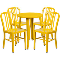 Flash Furniture CH-51080TH-4-18VRT-YL-GG 24 inch Round Yellow Metal Indoor / Outdoor Table with 4 Vertical Slat Back Chairs