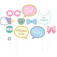 Creative Converting 324562 Baby Shower Photo Booth Props - 60 Pieces
