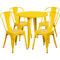 Flash Furniture CH-51090TH-4-18CAFE-YL-GG 30 inch Round Yellow Metal Indoor / Outdoor Table with 4 Cafe Chairs