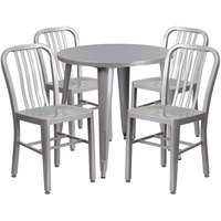 Flash Furniture CH-51090TH-4-18VRT-SIL-GG 30 inch Round Silver Metal Indoor / Outdoor Table with 4 Vertical Slat Back Chairs
