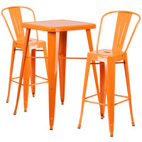 Flash Furniture CH-31330B-2-30GB-OR-GG 23 3/4 inch Square Orange Metal Indoor / Outdoor Bar Height Table with 2 Cafe Stools
