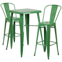 Flash Furniture CH-31330B-2-30GB-GN-GG 23 3/4 inch Square Green Metal Indoor / Outdoor Bar Height Table with 2 Cafe Stools