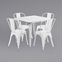 Flash Furniture ET-CT002-4-30-WH-GG 31 1/2 inch Square White Metal Indoor / Outdoor Table with 4 Cafe Chairs