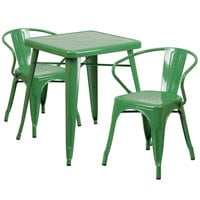Flash Furniture CH-31330-2-70-GN-GG 23 3/4 inch Square Green Metal Indoor / Outdoor Table with 2 Arm Chairs