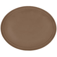 Carlisle 2500GR2076 24 inch x 19 1/2 inch Toffee Tan Griptite Oval Non Skid Fiberglass Serving Tray