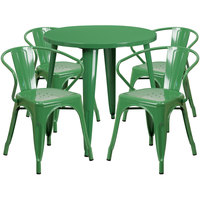 Flash Furniture CH-51090TH-4-18ARM-GN-GG 30 inch Round Green Metal Indoor / Outdoor Table with 4 Arm Chairs