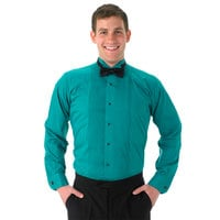 Henry Segal Unisex Customizable Teal Tuxedo Shirt with Wing Tip Collar - M