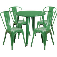Flash Furniture CH-51090TH-4-18CAFE-GN-GG 30 inch Round Green Metal Indoor / Outdoor Table with 4 Cafe Chairs