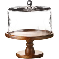 The Jay Companies American Atelier 11 13/16 inch Madera Wood Cake Stand with Glass Dome Cover