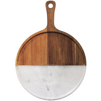 The Jay Companies American Atelier 12 inch Round Marble Cutting / Serving Board with Madera Wood Handle