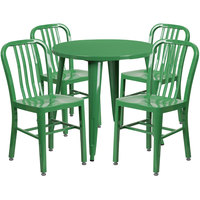 Flash Furniture CH-51090TH-4-18VRT-GN-GG 30 inch Round Green Metal Indoor / Outdoor Table with 4 Vertical Slat Back Chairs